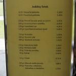 Velký Meder - jídelní listek a ceník