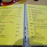 Restaurace Penzion Kamzík - jídelní lístek