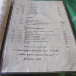 Bilíkova chata - jídelní lístek