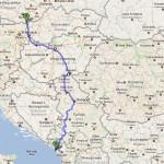 Cesta Srbsko do Černé Hory - mapa