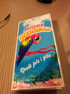 Pizzeria Papagai - jídelní lístek